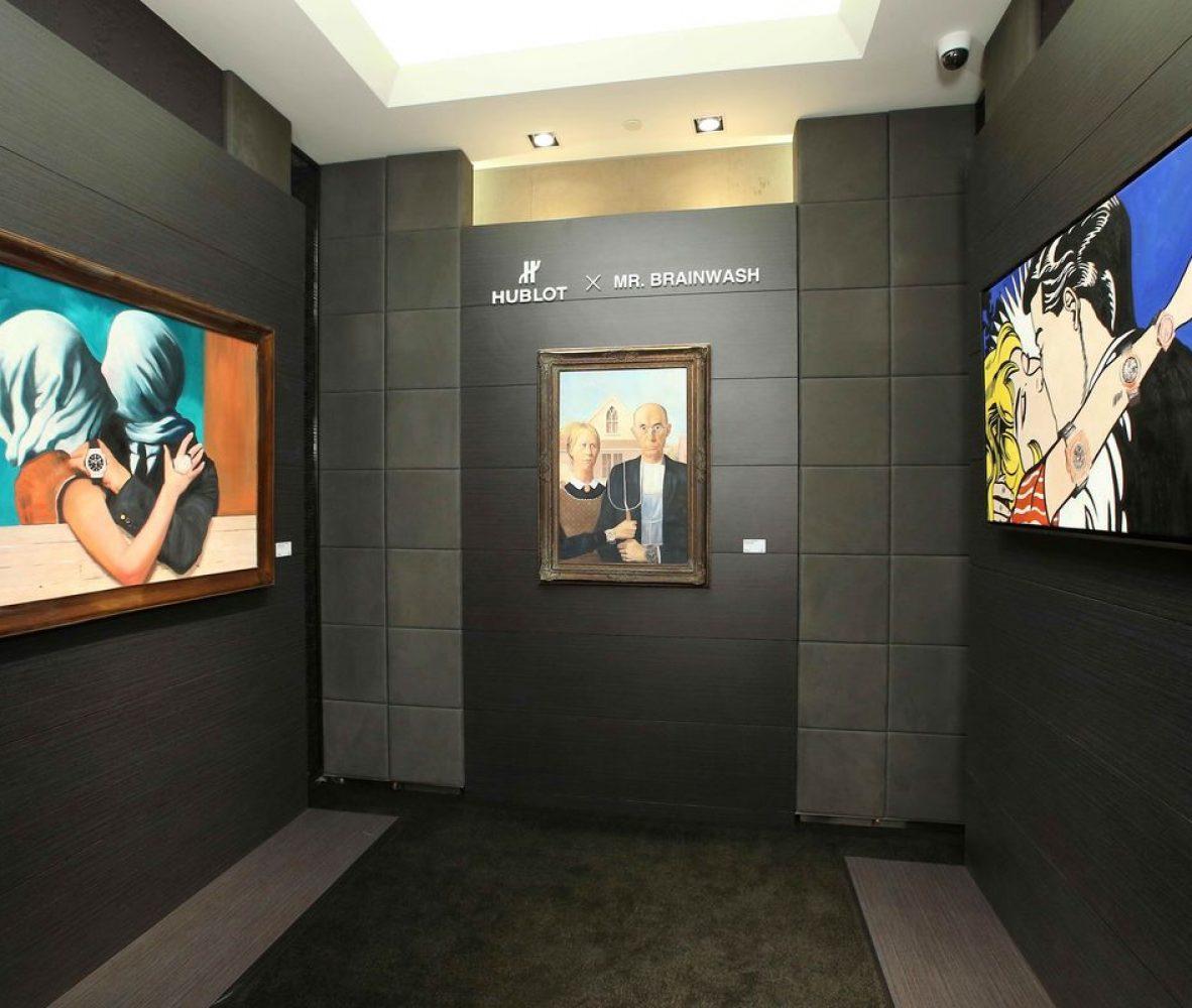 本週Hublot於台北101品牌專賣店呈現的是Mr. Brainwash的三幅作品。