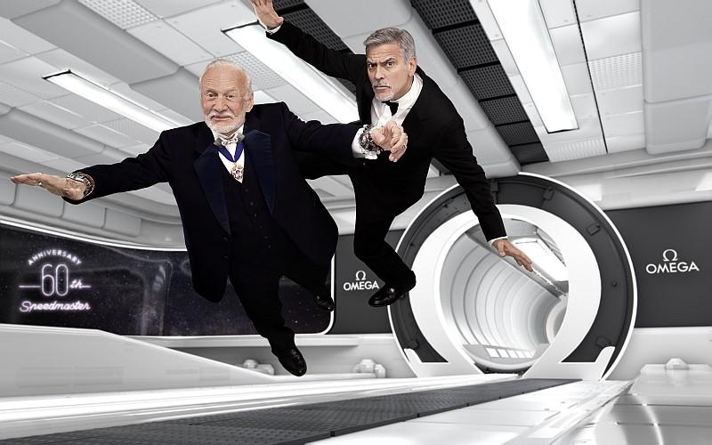 「第二個登月的人」Buzz Aldrin與OMEGA品牌大使George Clooney出席倫敦「迷失太空」活動