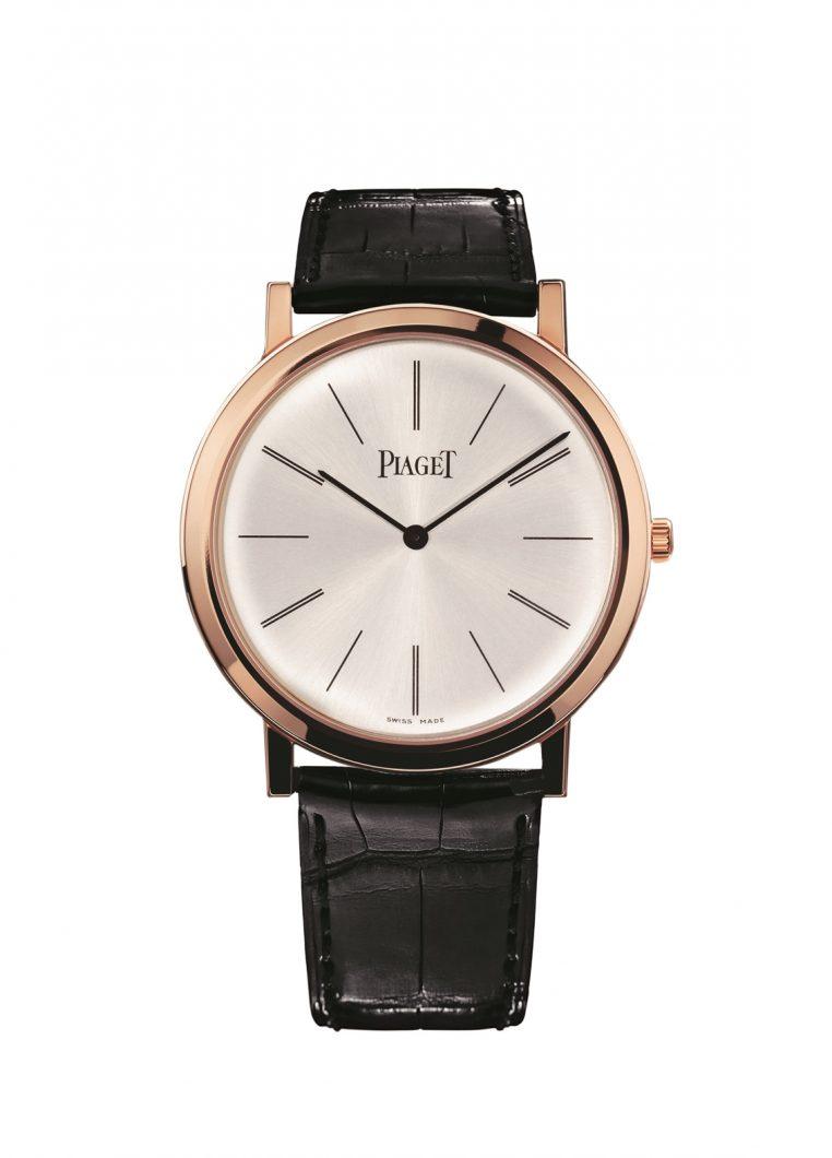 Altiplano腕錶,18K玫瑰金錶殼,錶徑38毫米,時、分,430P手動上鍊機芯,厚度2.1毫米,動力儲存43小時,藍寶石水晶玻璃鏡面,鱷魚皮錶帶,參考售價:NTD 486,000。