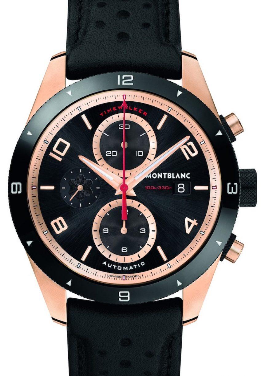 萬寶龍TimeWalker系列18K玫瑰金計時自動腕錶,參考售價:NTD 674,500。