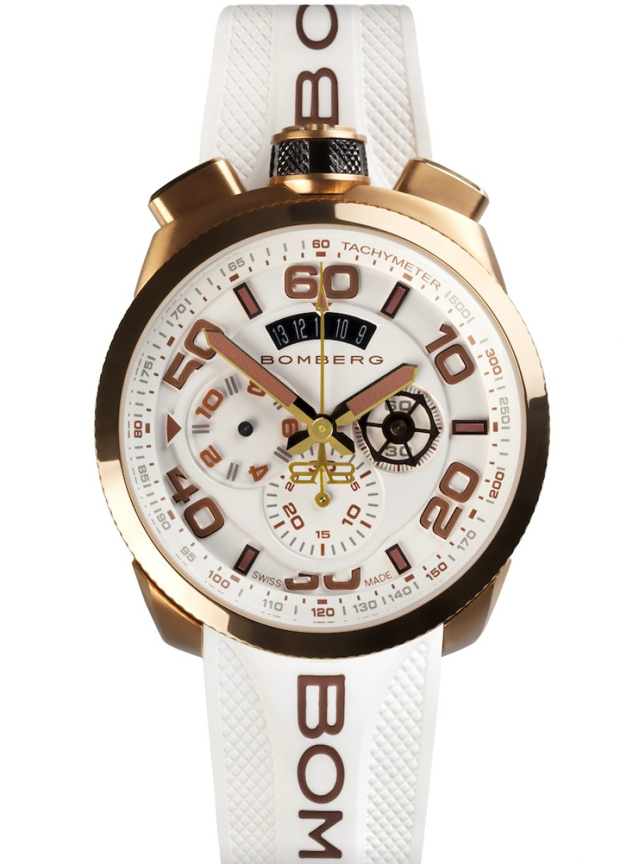 BOLT-68 CHRONO NEO COLOR WHITE 白金霓虹計時碼錶,參考售價: NTD 39,300。