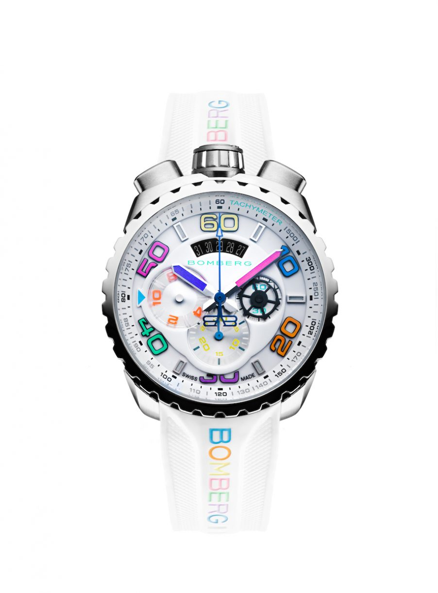 BOLT-68 Colorful Chroma II Ice Steel 白色霓虹計時碼錶,參考售價:NTD 49,000。