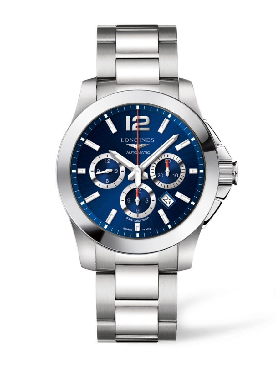 征服者系列計時腕錶,不鏽鋼錶殼,錶徑44毫米,時、分、小秒針、日期、計時碼錶,L688自動上鍊機芯,動力儲存54小時,藍寶石水晶玻璃鏡面,防水300米,不鏽鋼鍊帶,另有白色錶盤款,參考售價:NTD 67,400。