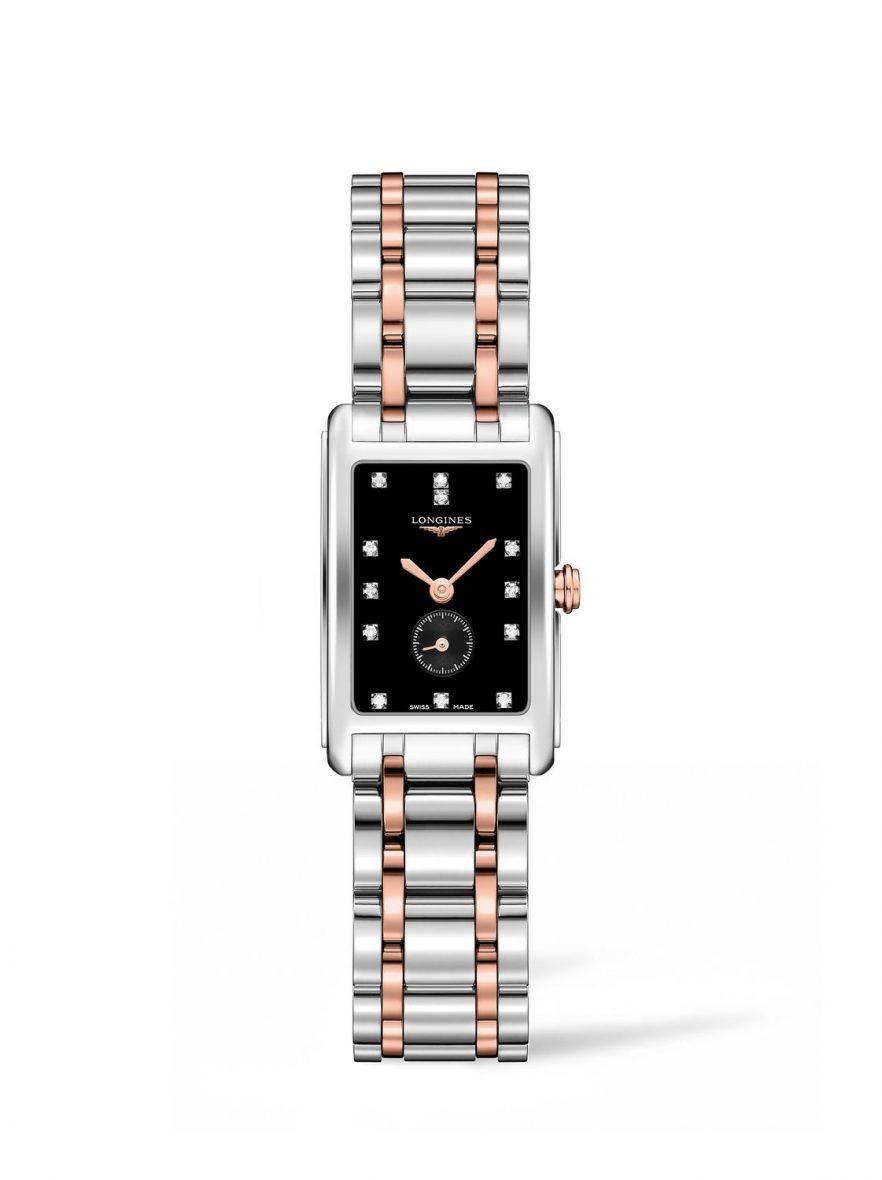 新多情系列雙色金腕錶,不鏽鋼錶殼,錶徑25.5 x 32毫米,黑色漆面錶盤鑲鑽13顆,時、分、小秒針,石英機芯,藍寶石水晶玻璃鏡面,防水30米,18K玫瑰金及不鏽鋼鍊帶,參考售價:NTD 69,200。
