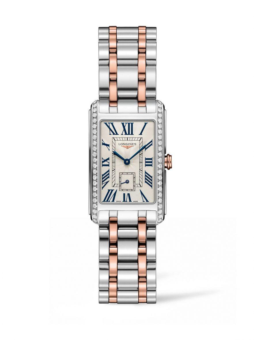 新多情系列雙色金腕錶,不鏽鋼錶殼鑲鑽46顆(0.552克拉),錶徑23 x 37(左)毫米,放射紋錶盤,時、分、小秒針,石英機芯,藍寶石水晶玻璃鏡面,防水30米,18K玫瑰金及不鏽鋼鍊帶,參考售價:NTD 141,800。