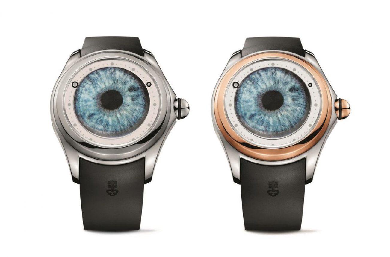 Big Bubble Magical M. Ceccarini腕錶,鈦金屬錶殼,玫瑰金錶圈(右),錶徑52毫米,時、分,CO 390自動上鍊機芯,動力儲存65小時,藍寶石水晶玻璃鏡面,防水100米,橡膠錶帶,限量各88只,參考售價:NTD 227,000(左)/NTD 488,000(右)。