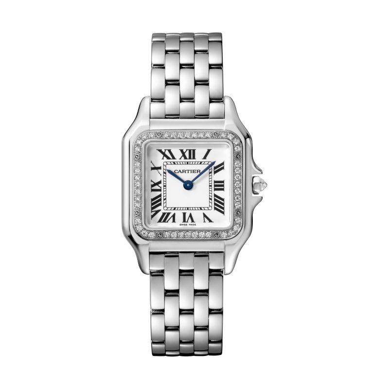 Panthère de Cartier美洲豹白K金鑽石腕錶,錶圈鋪鑲鑽石,搭載石英機芯,八角形錶冠鑲嵌鑽石,中型款,參考價格約NTD 905,000。