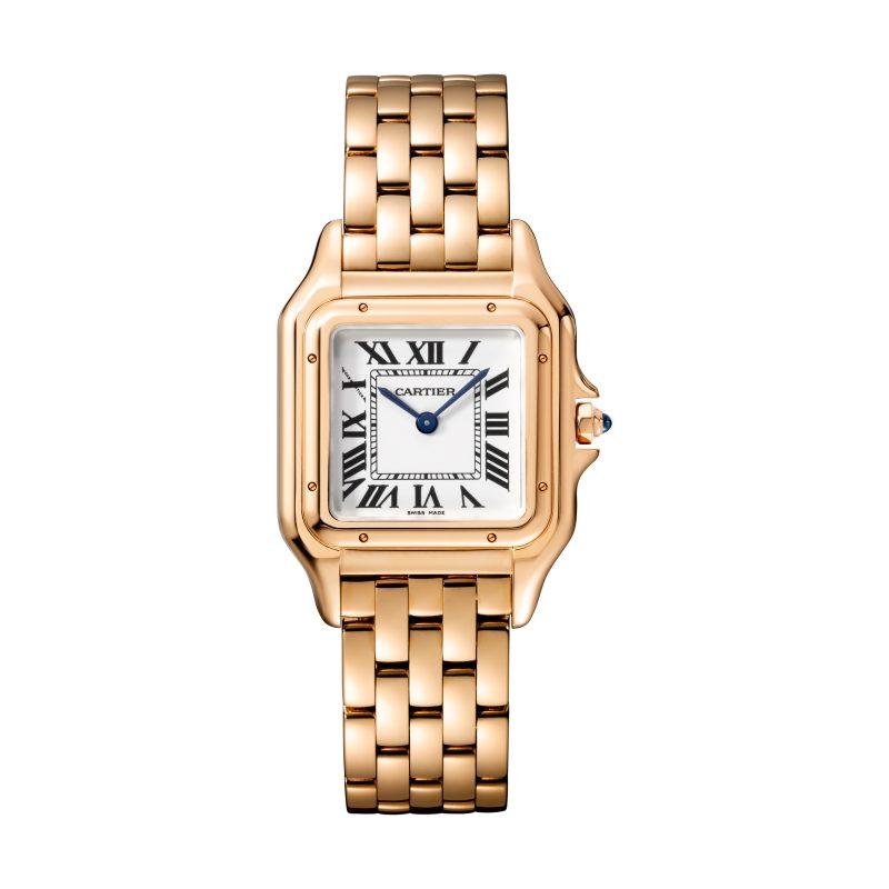 Panthère de Cartier美洲豹玫瑰金腕錶,搭載石英機芯,八角形錶冠鑲嵌藍寶石,中型款,參考價格約NTD710,000。