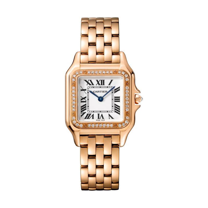 Panthère de Cartier美洲豹玫瑰金鑽石腕錶,錶圈鋪鑲鑽石,搭載石英機芯,八角形錶冠鑲嵌鑽石,中型款,參考價格約NT$D870,000。