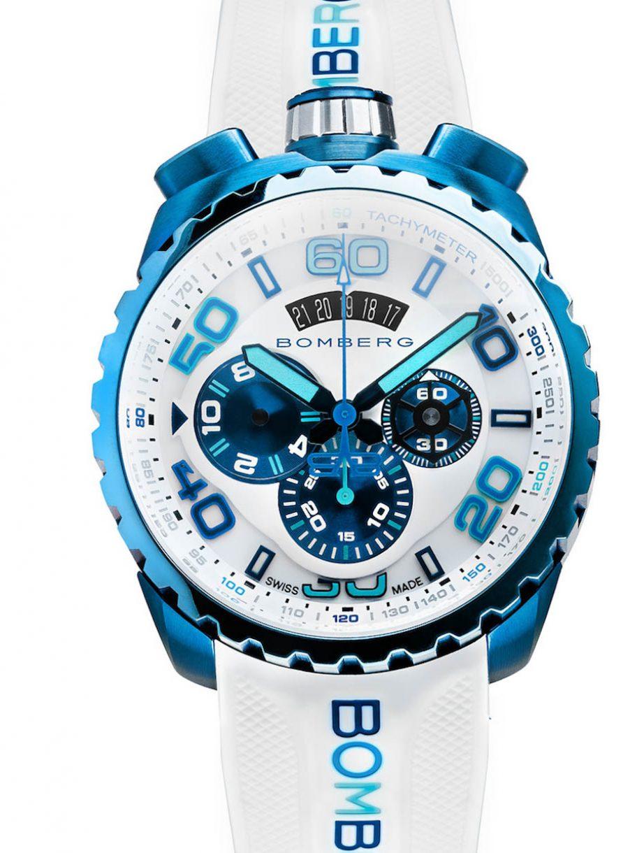 BOLT-68 CHROMA II ICE BLUE 晶鑽藍霓虹計時碼錶,參考售價:NTD 49,000。