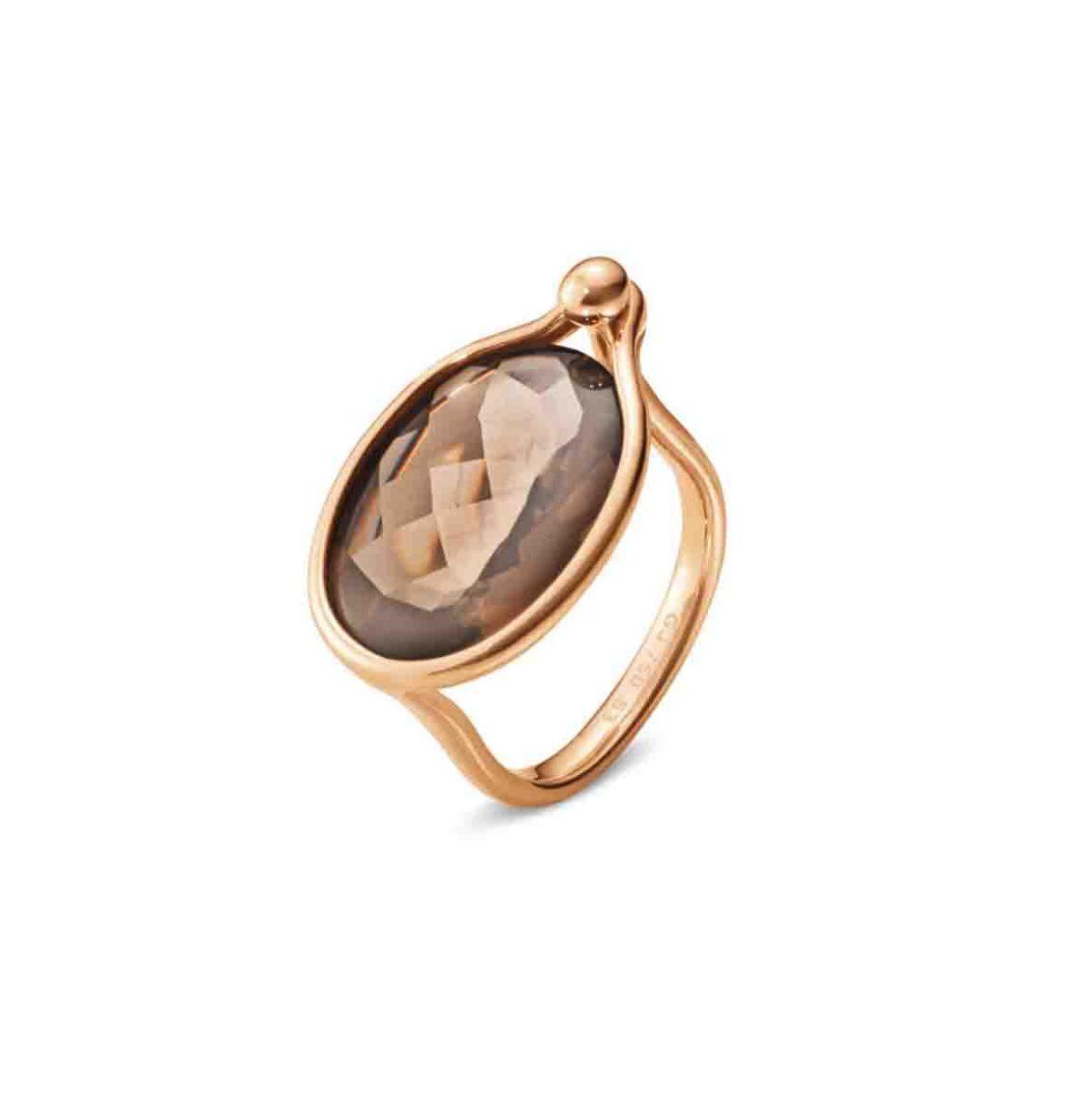 GEORG JENSEN SAVANNAH 18K玫瑰金煙水晶戒指,參考售價NTD 38,000起。