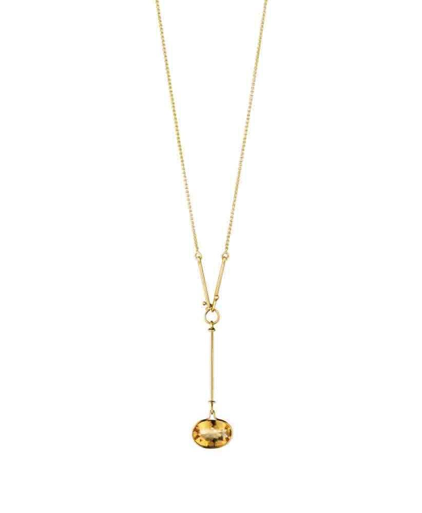 GEORG JENSEN SAVANNAH 18K黃金黃水晶長鍊,參考售價NTD 57,500。