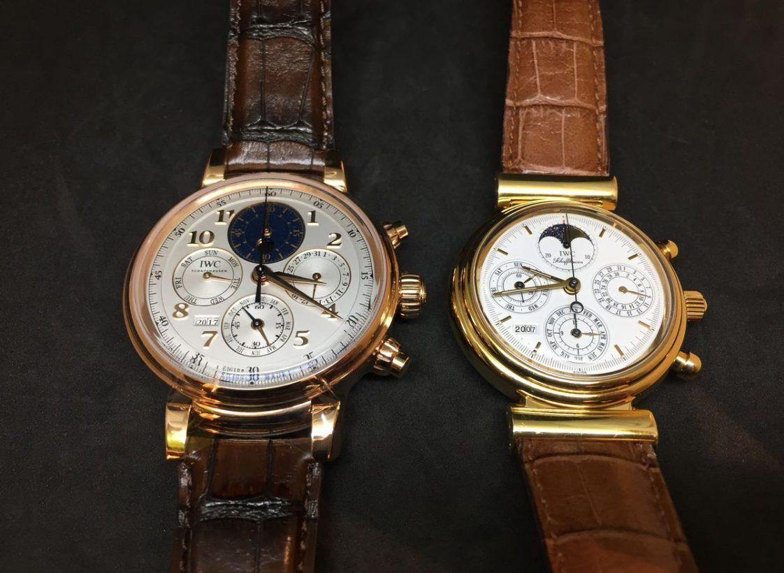 2017新款達文西萬年曆計時腕錶(左)與Kurt Klaus設計的達文西萬年曆計時腕錶。