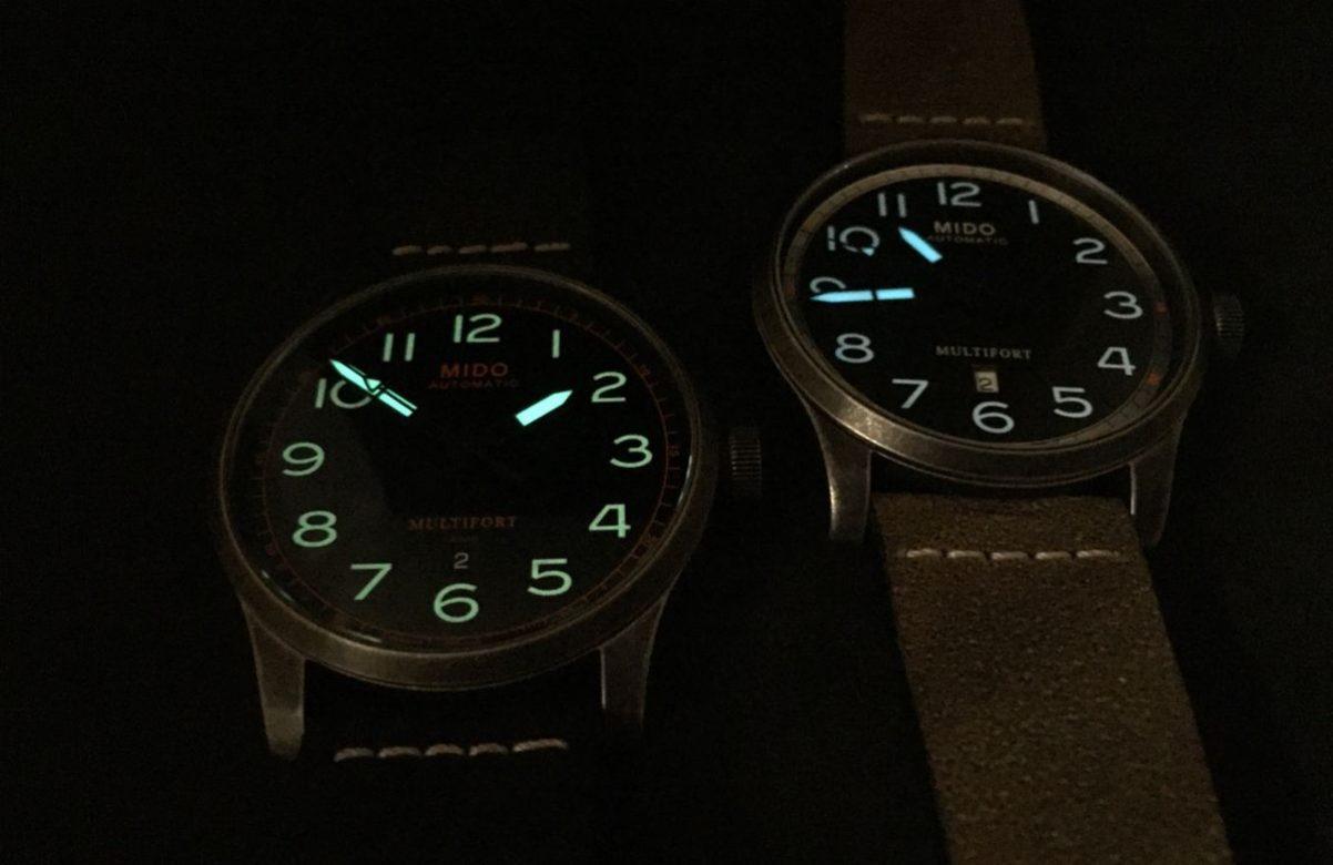 黑色錶盤款(左)採綠色Super-LumiNova®夜光塗料,不同於藍、綠錶盤款隔。