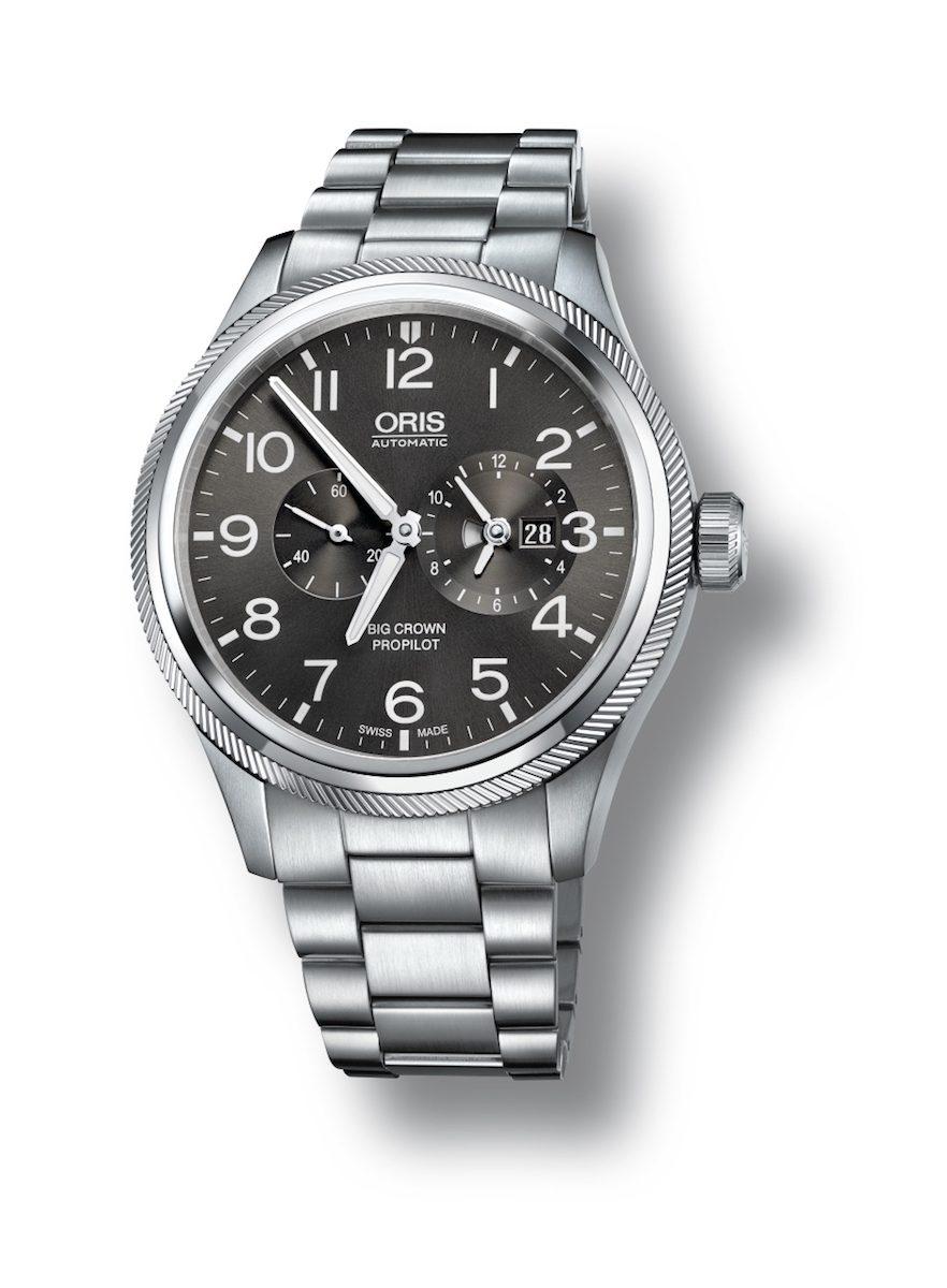 Oris Big Crown ProPilot世界時區錶,煙灰色錶盤搭配不鏽鋼金屬鍊帶款。