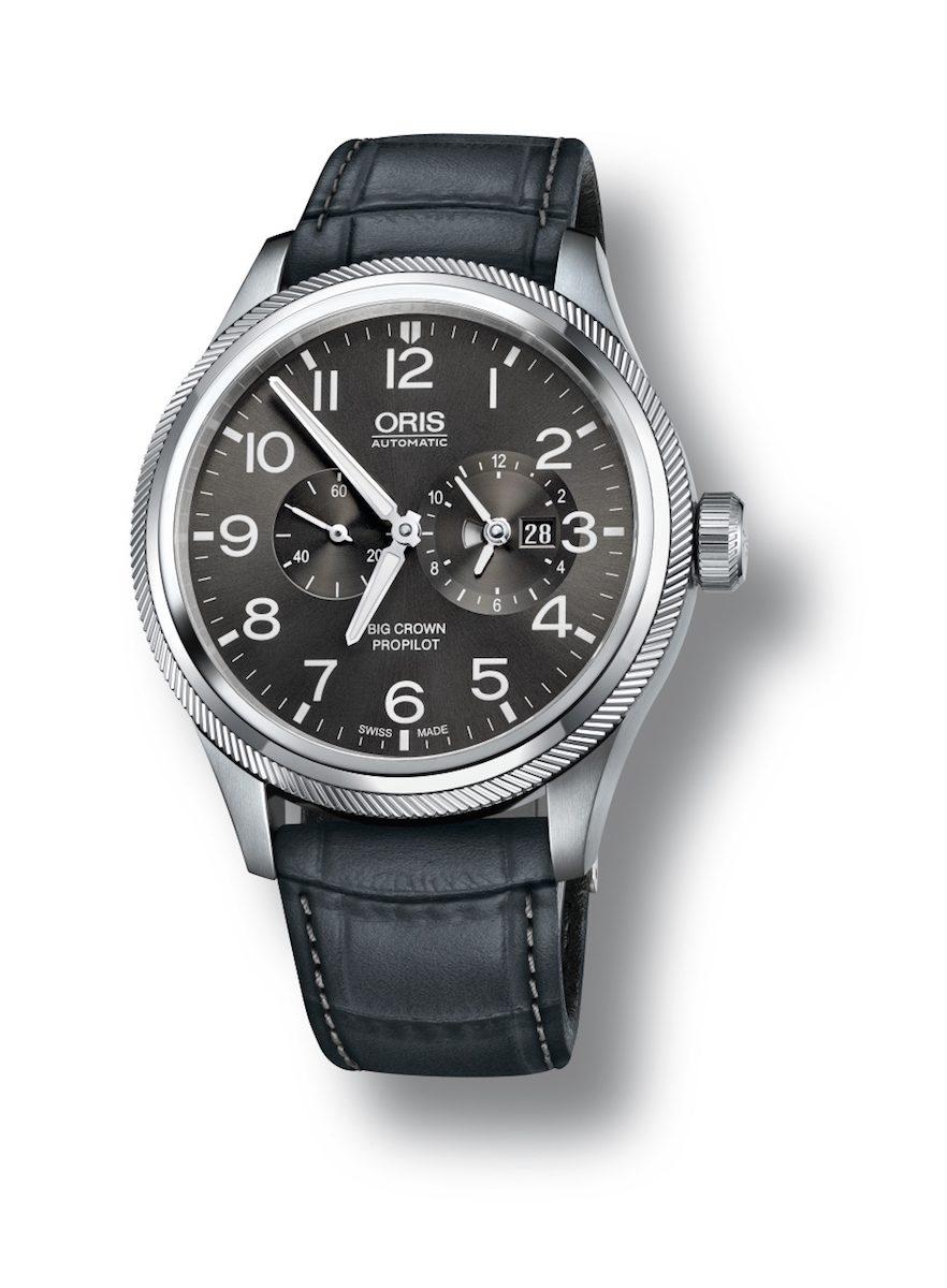 Oris Big Crown ProPilot世界時區錶,煙灰色錶盤搭配鱷魚皮錶帶款。