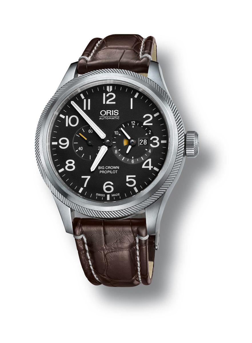 Oris Big Crown ProPilot世界時區錶,黑色錶盤搭配鱷魚皮錶帶款。