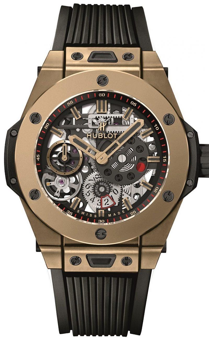 <strong>BIG BANG MECA-10十日鍊腕錶</strong><br>18K Magic Gold 魔力金錶殼,直徑45毫米,藍寶石水晶鏡面,內外皆覆防反光塗層,黒色複合樹脂錶耳,防水100米,Hublot宇舶獨家研發自製HUB1201機芯,手動上鍊,動力儲存指示,動力儲存約10日,立體結構橡膠錶帶。