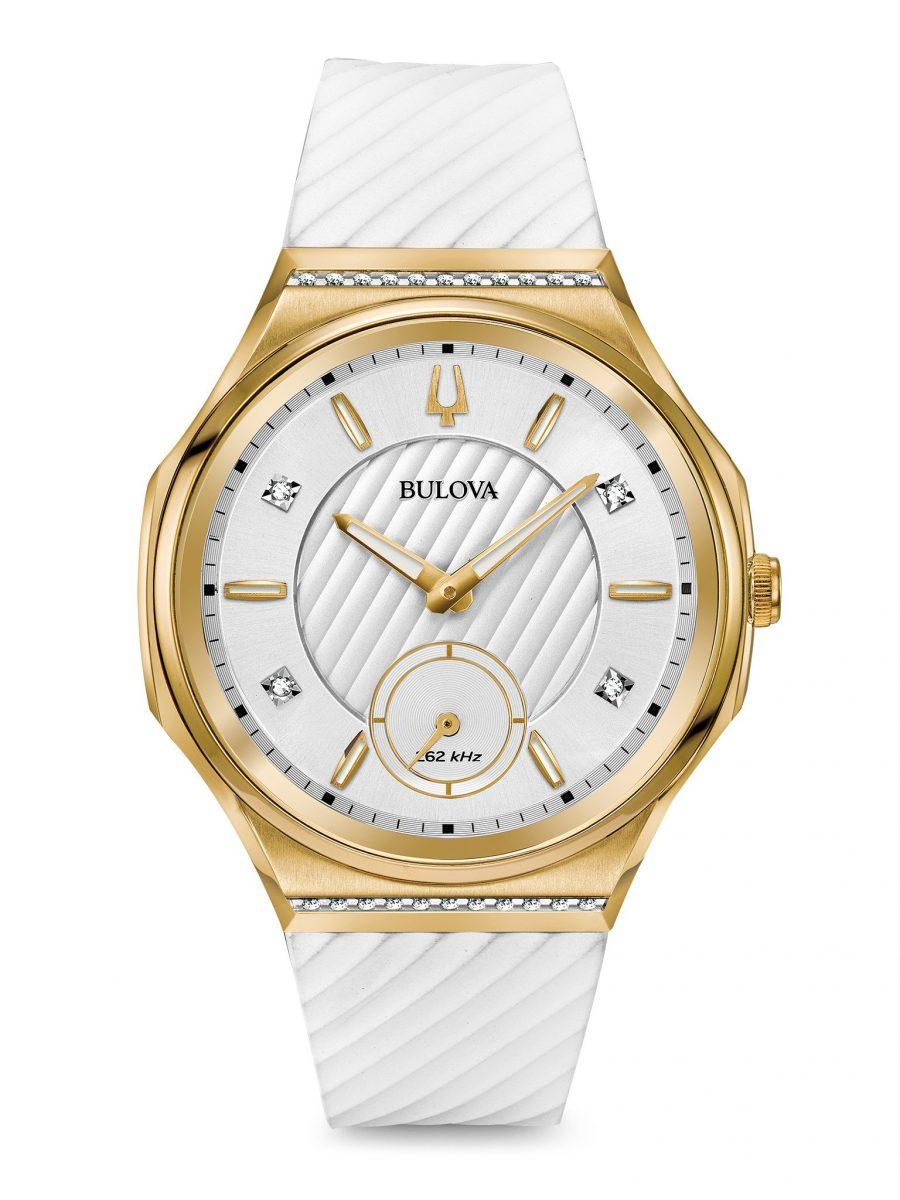 小秒盤佈局的CURV系列女裝腕錶,型號98R237,參考售價 NTD 32,800。