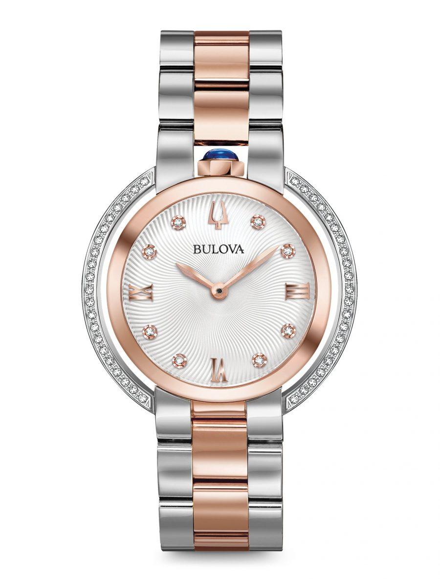 極為特別、錶冠設計於錶殼12點方向的Rabaiyat女裝腕錶,型號98R248,參考售價 NTD 32,800。