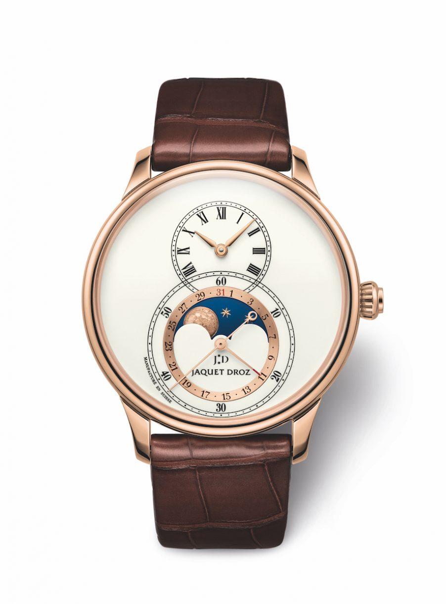 JAQUET DROZ 雅克德羅 Grande Seconde Moon Ivory Enamel象牙色大明火琺瑯月相大秒針腕錶,參考售價 NTD 985,000。