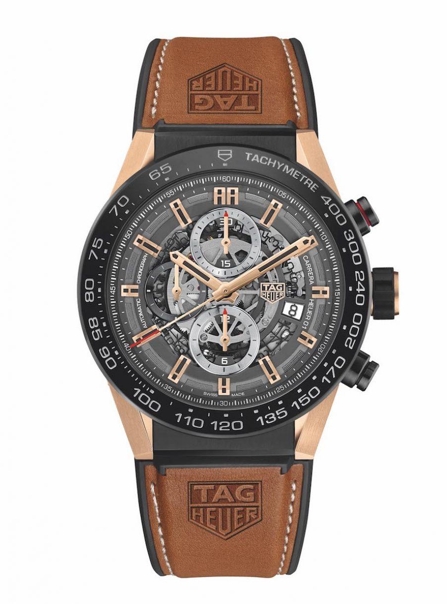 TAG Heuer 豪雅 Carrera Heuer 01玫瑰金計時碼錶,參考售價 NTD 307,800。