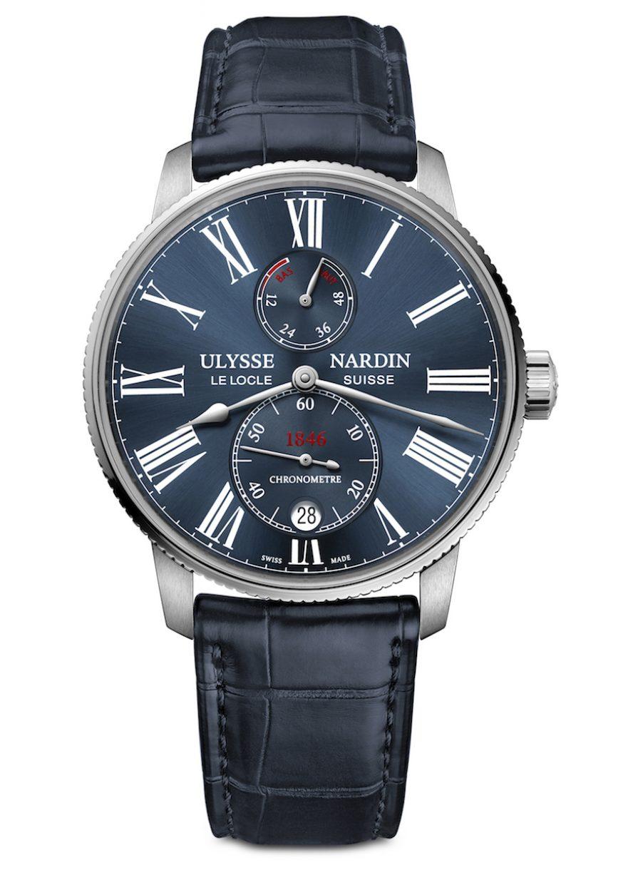 ULYSSE NARDIN 雅典 Marine Torpilleur航海系列領航者精鋼藍面腕錶,參考售價 NTD 245,000。