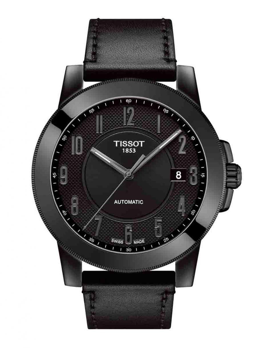 天梭表 Gentleman紳士系列自動腕錶全黑皮革皮款,參考售價 NTD 13,700。