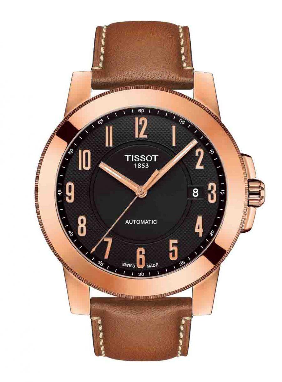 天梭表 Gentleman紳士系列自動腕錶玫瑰金皮革款,參考售價 NTD 13,700。