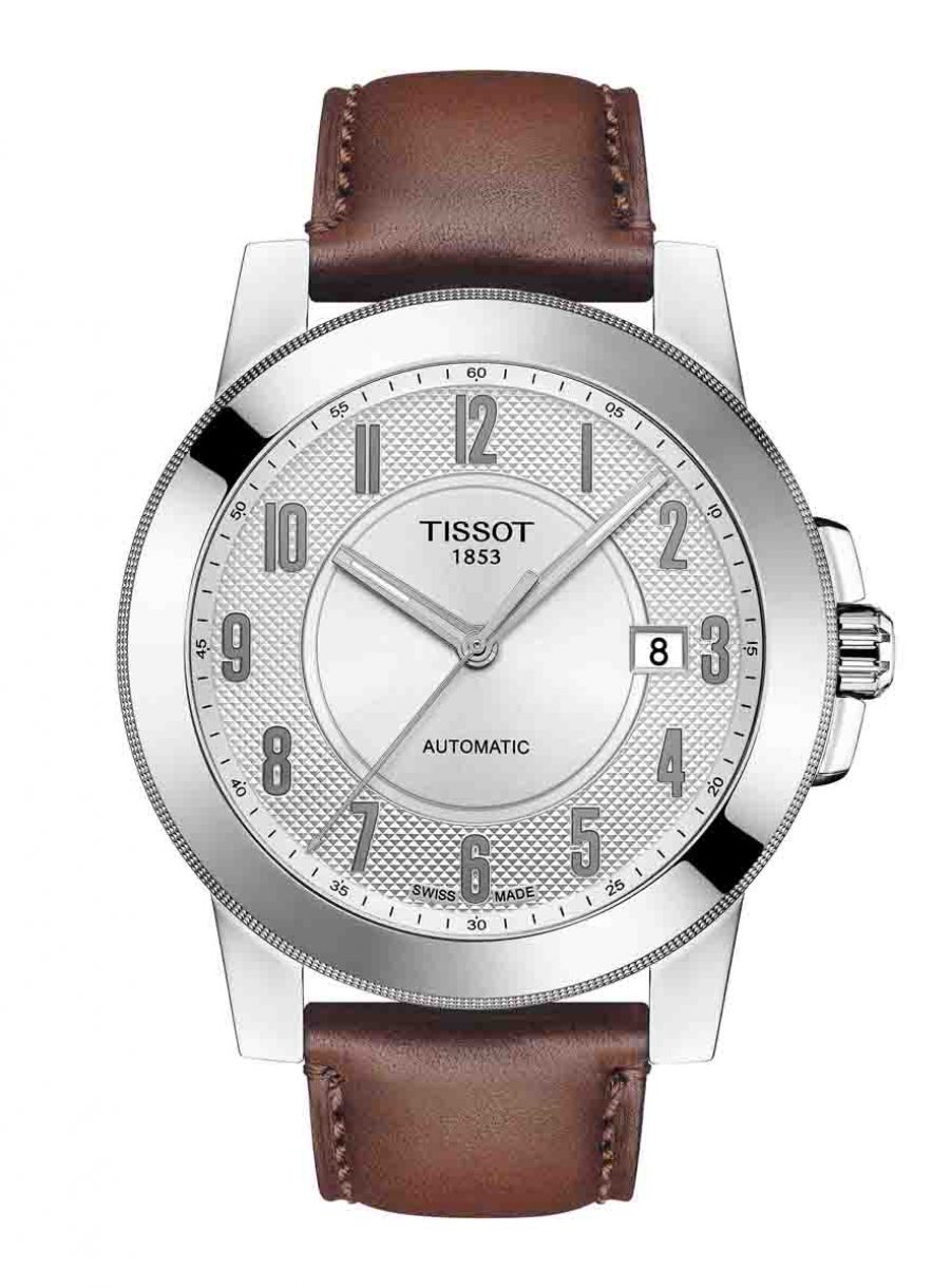 天梭表 Gentleman紳士系列自動腕錶白面皮革款,參考售價 NTD12,200。