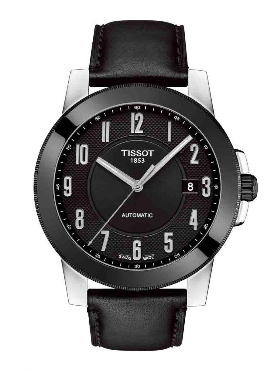 天梭表 Gentleman紳士系列自動腕錶黑面皮革款,參考售價 NTD 12,700。