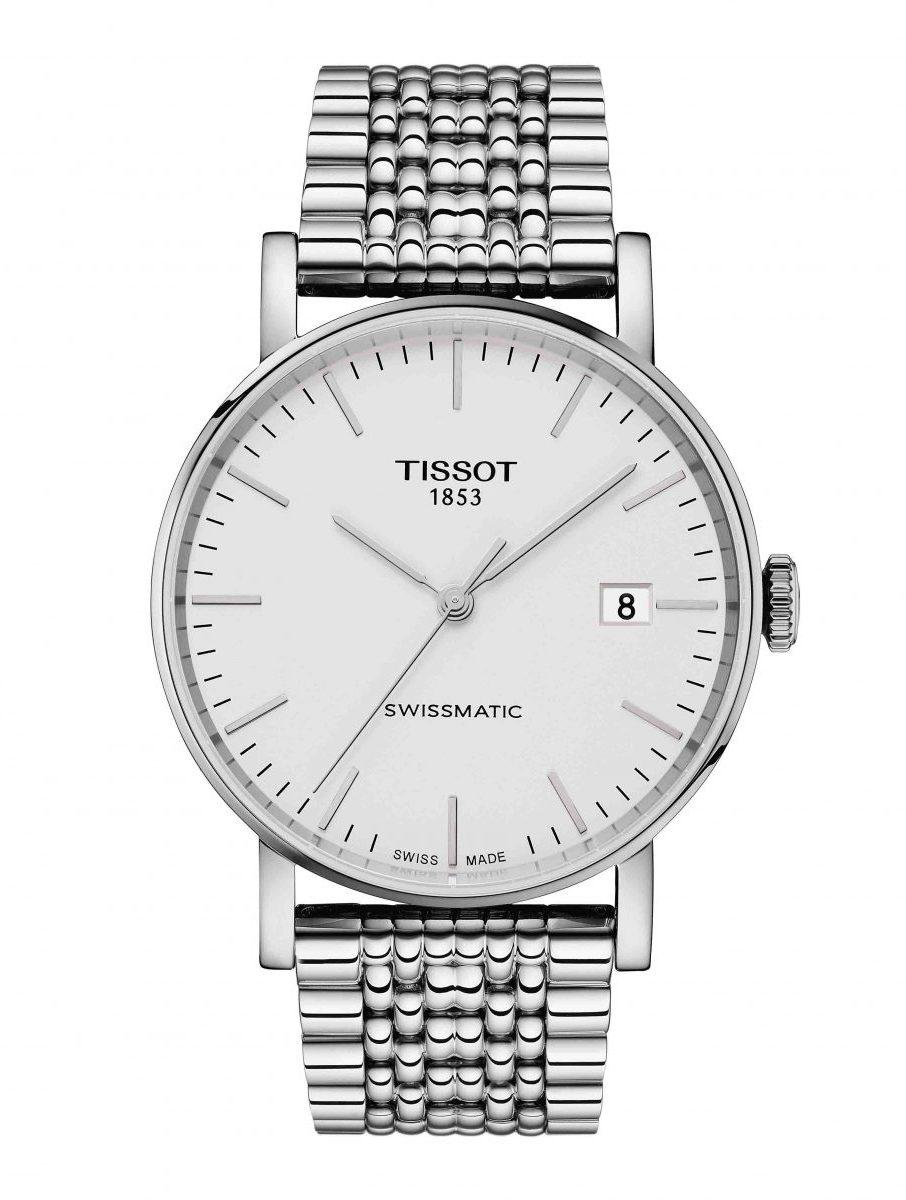 天梭表 Everytime Swissmatic魅時系列自動腕錶白面鏈帶款,參考售價 NTD 15,100。