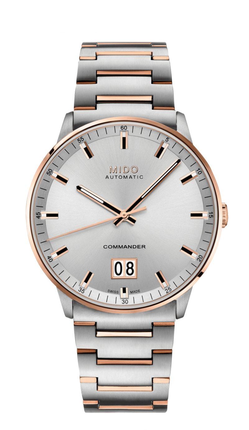 Commander Big Date香榭系列大日期窗腕錶,玫瑰金PVD316L不鏽鋼錶殼,玫瑰金PVD不鏽鋼雙色金屬鍊帶,建議售價NTD34,800。