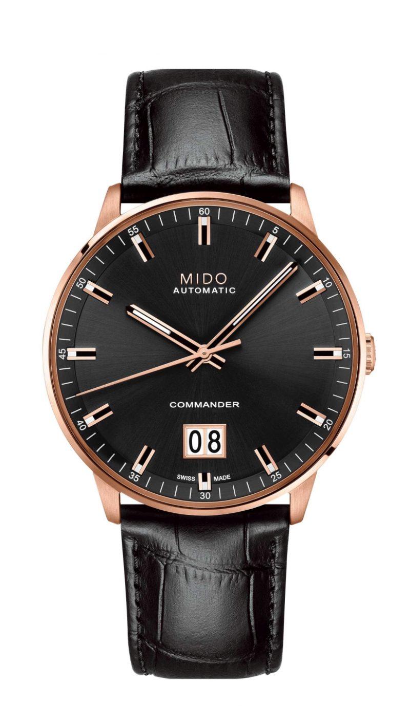 Commander Big Date香榭系列大日期窗腕錶,玫瑰金PVD316L不鏽鋼錶殼,黑色鱷魚壓紋小牛皮真皮錶帶,建議售價NTD32,000。