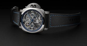 沛納海 Lo Scienziato – Luminor 1950 Tourbillon GMT Titanio 47毫米陀飛輪兩地時間鈦金屬腕錶