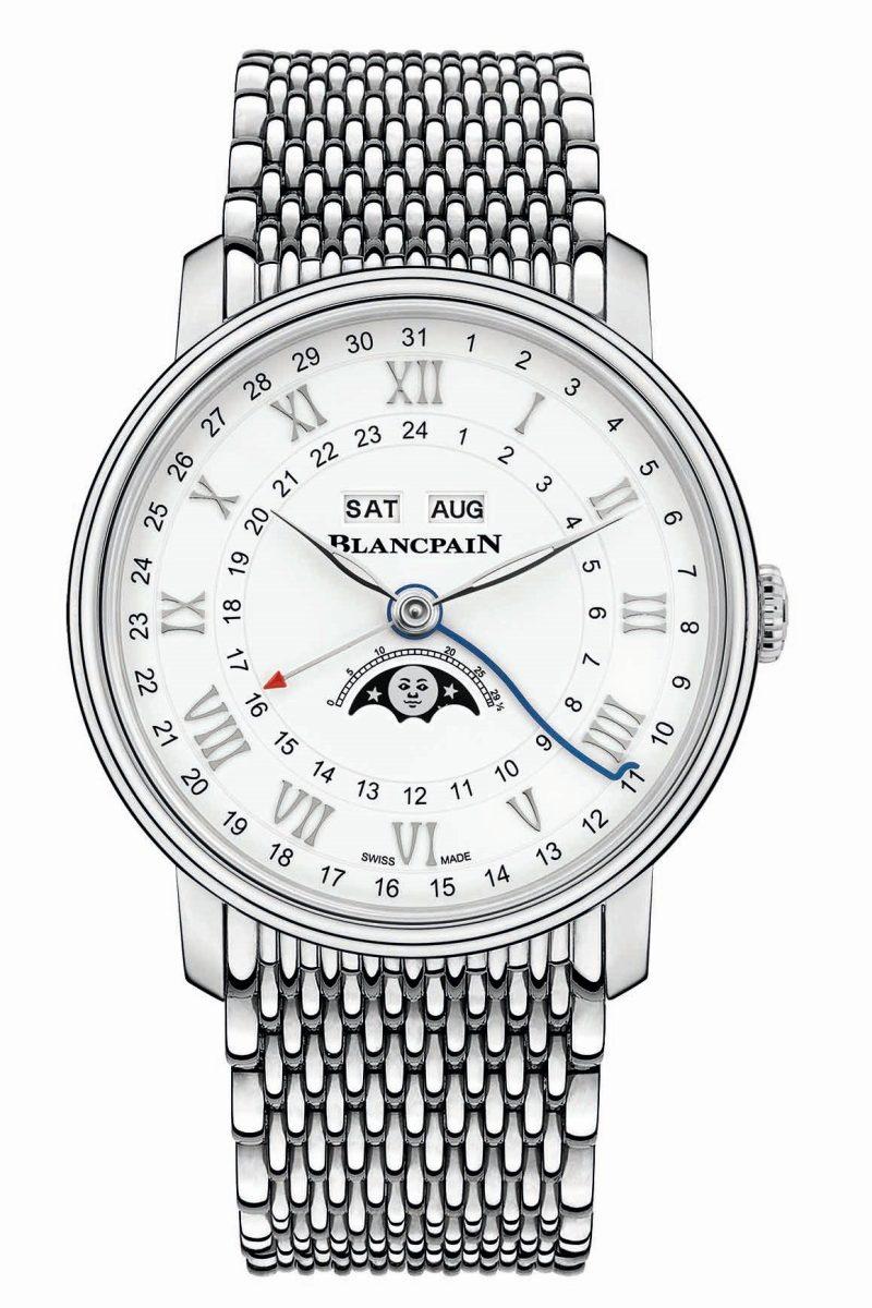 寶珀Villeret系列Quantième Complet GMT兩地時間全日曆腕錶不鏽鋼Mille Mailles鍊帶版