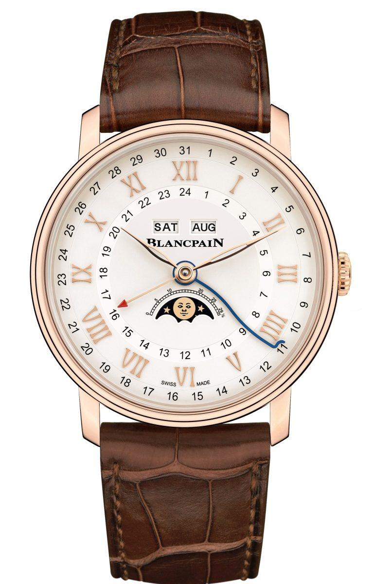 寶珀Villeret系列Quantième Complet GMT兩地時間全日曆腕錶鱷魚皮錶帶版