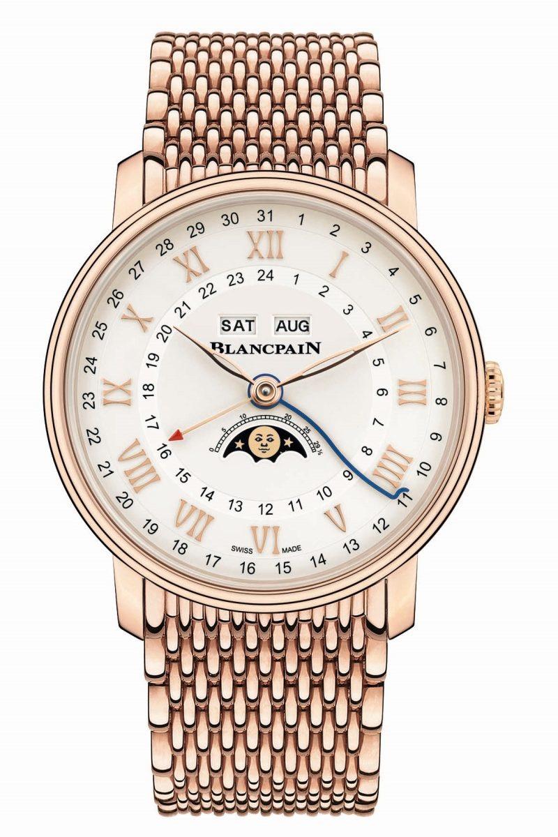 寶珀Villeret系列Quantième Complet GMT兩地時間全日曆腕錶18K紅金Mille Mailles鍊帶版
