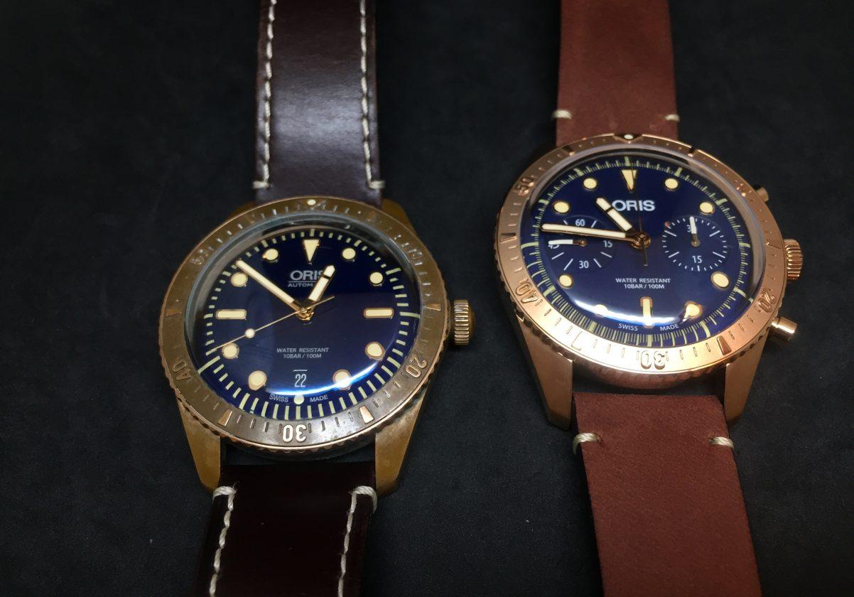 與兩年前推出的Carl Brashear腕錶(左)相比,可見時間對青銅材質產生的變化。