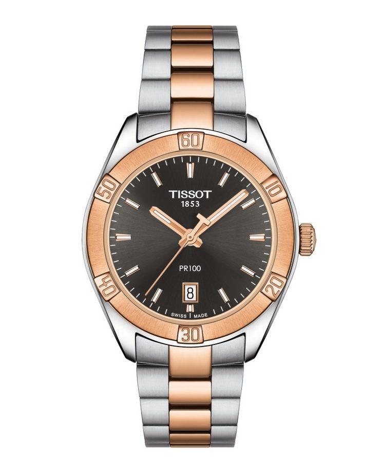 PR100,PVD玫瑰金鍍層不鏽鋼錶殼,錶徑36毫米,建議售價NTD13,000