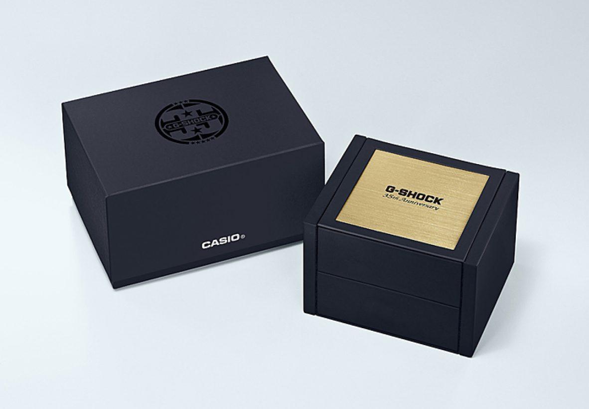 G-SHOCK 35週年紀念錶款的GMW-B5000TFG-9,也會採用特殊的金色外包裝錶盒。