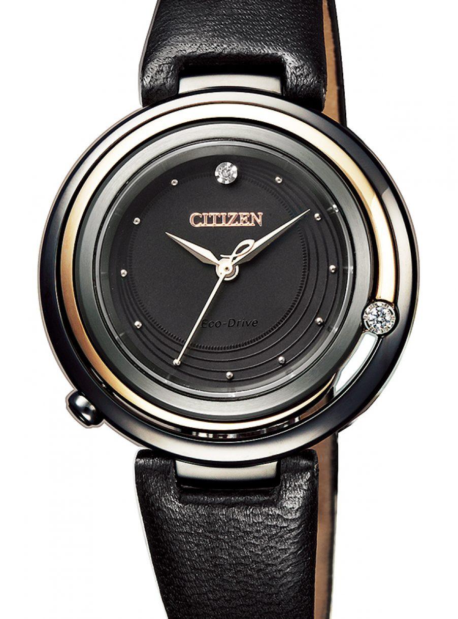 CITIZEN L 光動能鑽石女錶,型號EM0659-17E,參考售價約NTD17,800。