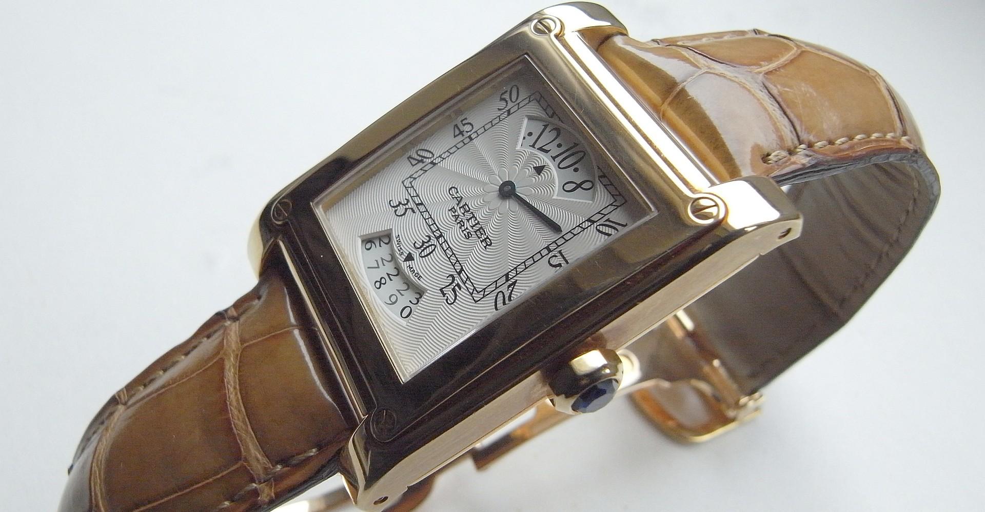 一只CPCP好錶:CARTIER Tank a Vis Time & Calendar Apertures螺絲坦克時間與日曆顯示功能腕錶