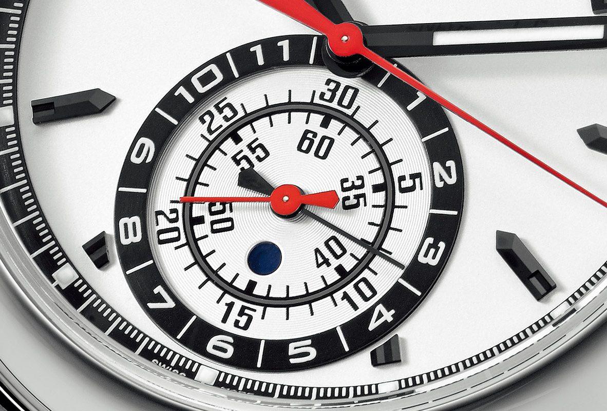 Ref. 5960/1A年曆計時碼錶上的計時積算盤,以同軸時分呈現。