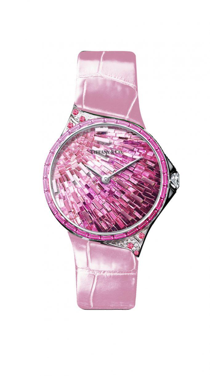 Tiffany Metro 28mm 馬賽克設計18K白金鑲嵌粉色剛玉、鑽石與彩色寶石高級珠寶腕錶,參考售價NTD3,775,000。