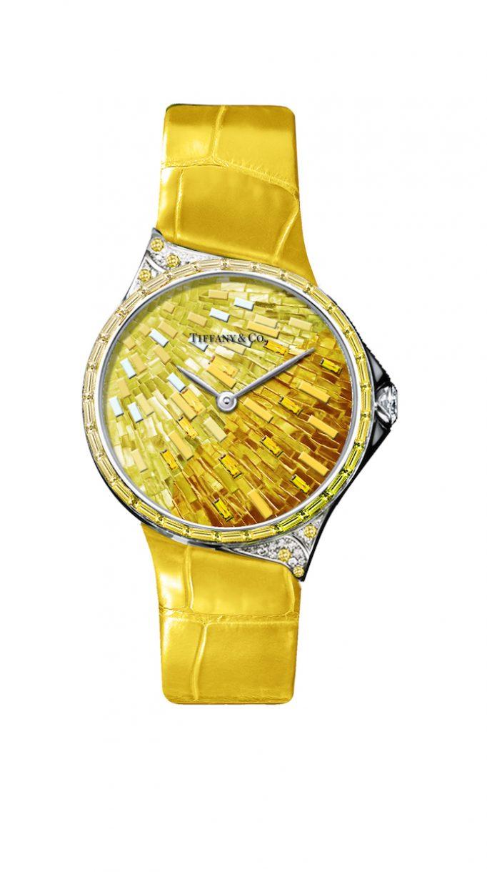 Tiffany Metro 28mm 馬賽克設計18K白金鑲嵌黃色剛玉、鑽石與彩色寶石高級珠寶腕錶,參考售價NTD3,775,000。