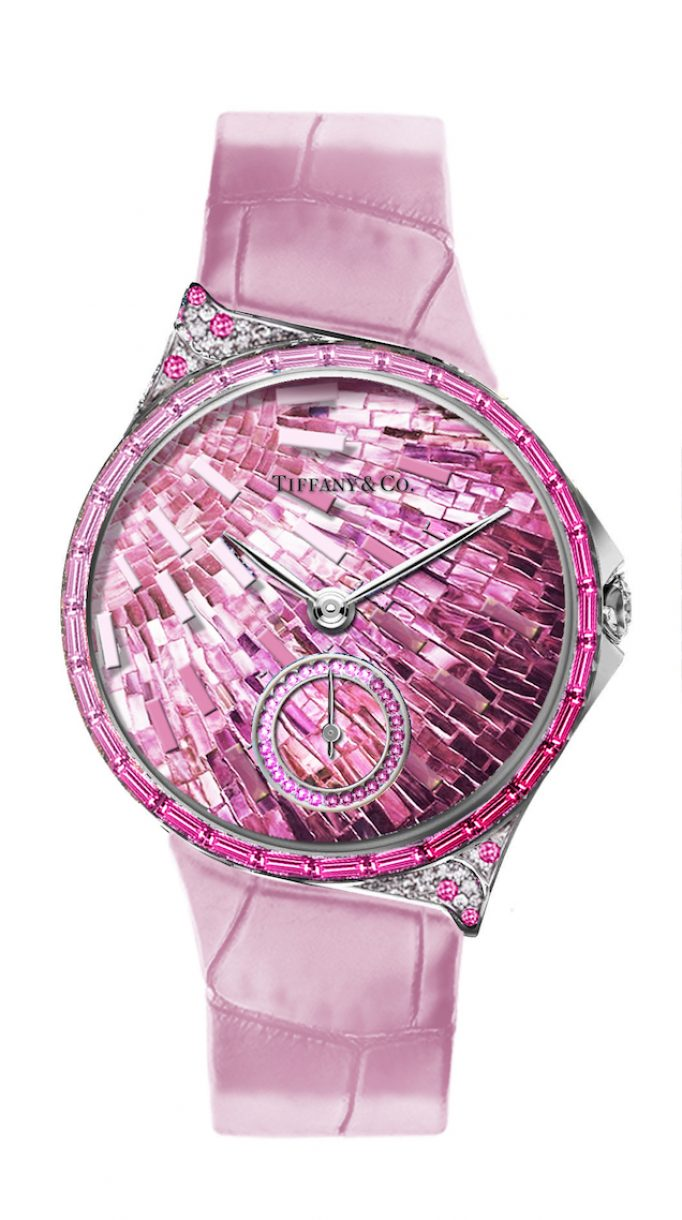 Tiffany Metro 34mm 馬賽克設計18K白金鑲嵌粉色剛玉、鑽石與彩色寶石高級珠寶腕錶,參考售價NTD4,130,000。