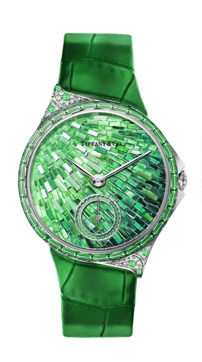 Tiffany Metro 34mm 馬賽克設計18K白金鑲嵌沙弗萊石、鑽石與彩色寶石高級珠寶腕錶,參考售價NTD4,130,000。