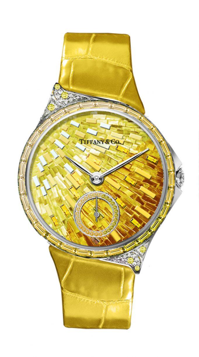 Tiffany Metro 34mm 馬賽克設計18K白金鑲嵌黃色剛玉、鑽石與彩色寶石高級珠寶腕錶,參考售價NTD4,130,000。