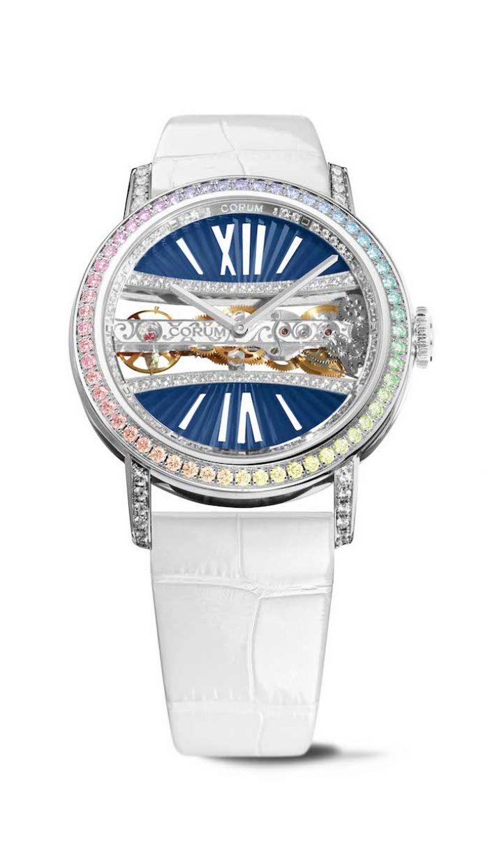 CORUM 金橋系列圓形鑽錶彩鑽白金錶殼款,錶徑39毫米,參考售價NTD 1,970,000